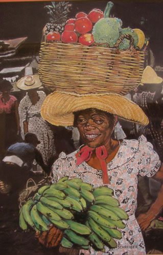 Pastel Painting by Herman Schreiber - The Fruit Lady